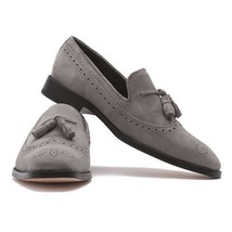 Handmade Men's Gray Suede Slip Ons Loafer Tassel Brogues Style Shoes image 1