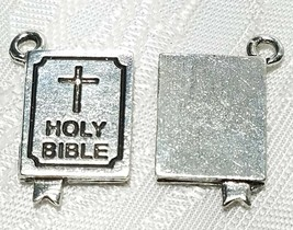 HOLY BIBLE FINE PEWTER PENDANT CHARM  2x20x12mm