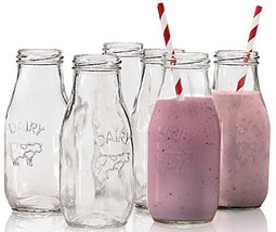 """Circleware Country """"Dairy"""" Glass Milk Bottles, 6 , Set of 6, 10.5 Ounce - $19.93"""