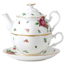 Royal Albert New Country Roses White Stackable Teapot Cup & Saucer New - $65.90
