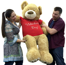 Giant 5 Foot Teddy Bear Soft Tan Lifesized, Wears T-Shirt HAPPY VALENTIN... - $127.11
