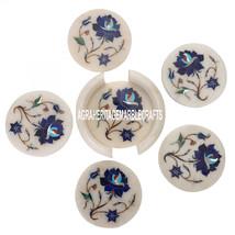 White Marble Coffee Coaster Set Lapis Lazuli Mosaic Inlay Home Arts Decor Gifts - $211.17