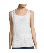 a.n.a V-Neck Crochet Tank Top Size PS, PM New Msrp $36.00 Pristine Ivory - $14.99
