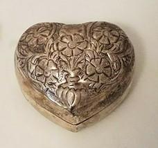 "Silver heart-shaped metal trinket box 2.5"" x 2.5"" - $18.56 CAD"