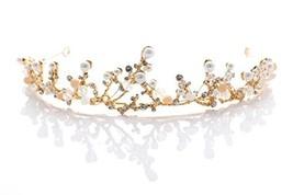 Yfe Wedding Crown Crystal Pearl Tiaras Crowns for Women and Girls Pearl Rhinesto