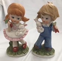 HOMCO BOY & GIRL FIGURINES-HOLDING BUNNIES & CARROTS...NICE CONDITION - $5.86