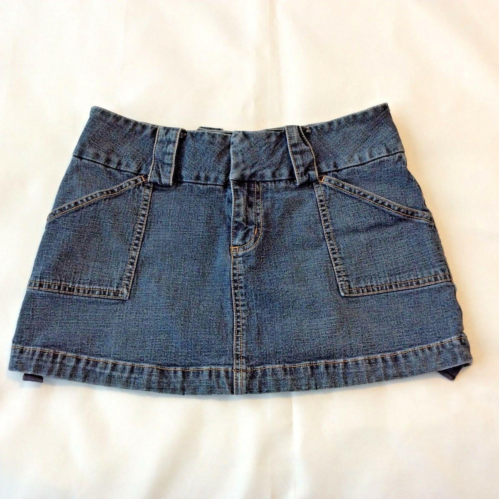 Guess Vintage Mini Skirt Micro Short Size 28 6 Cinch Hem Womens Blue Jean Denim