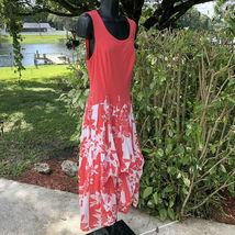Vasna Desire Sleeveless Fit Flare Dress Size Small Coral White Floral Hawaiian image 3