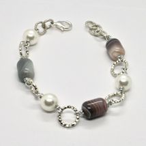 Bracelet the Length Aluminium 21 Inch with Chalcedony and Grey Pearl image 4
