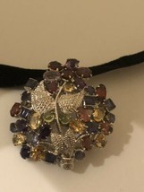 Vintage Brooch 925 Sterling Silver Genuine Mixed Tourmaline Gemstone Pin... - $193.05