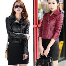 Womens Winter Slim Fit PU Leather Jacket Punk Rock Biker Zipper Motorcyc... - $57.00