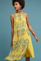 New Anthropologie Akemi + Kin Yellow Printemps Skirted Jumpsuit Retail $... - $52.17
