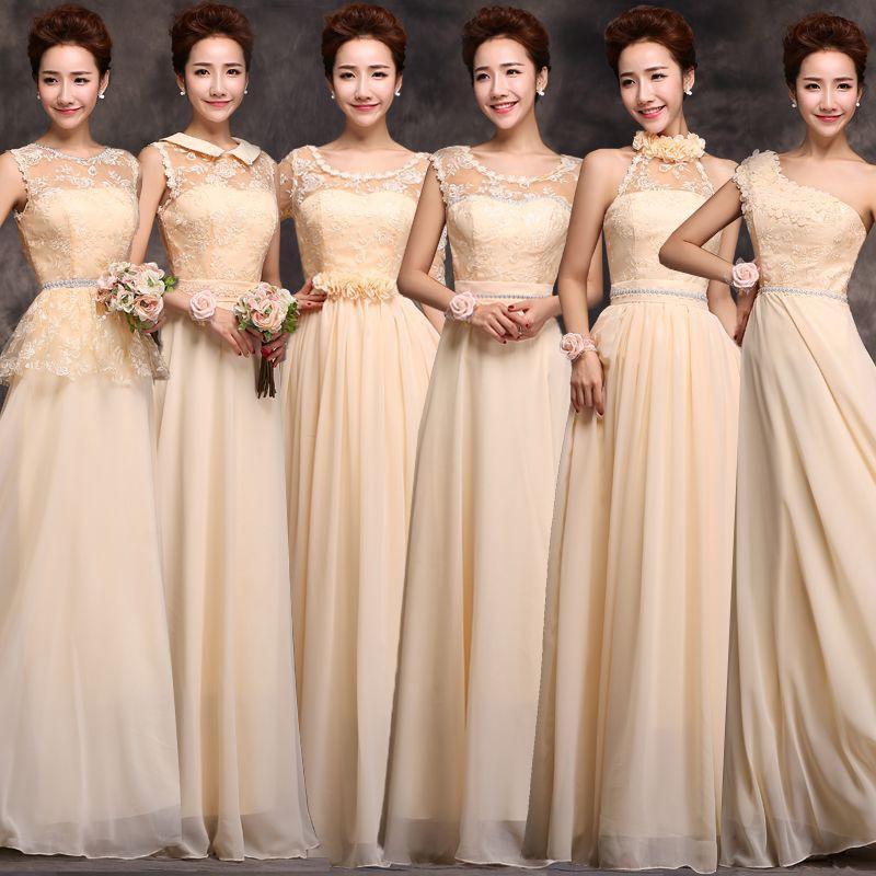 2014 nuevo vestido de dama larga seccion hermanas otono e invierno mujer ropa de champan vestido
