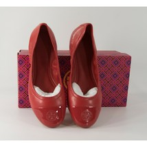 Tory Burch Eddie Ruby Red Nappa Leather Patent Cap Toe Ballet Flats Sz 6.5 NIB - $162.86