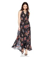 New Sangria Women's Petite High-Low Maxi Dress Multi Black Purple-Red Fl... - $51.65