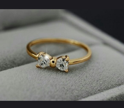 Bow Style Engagement Anniversary Ring Heart Shape CZ 14k Gold Plated 925... - $64.99