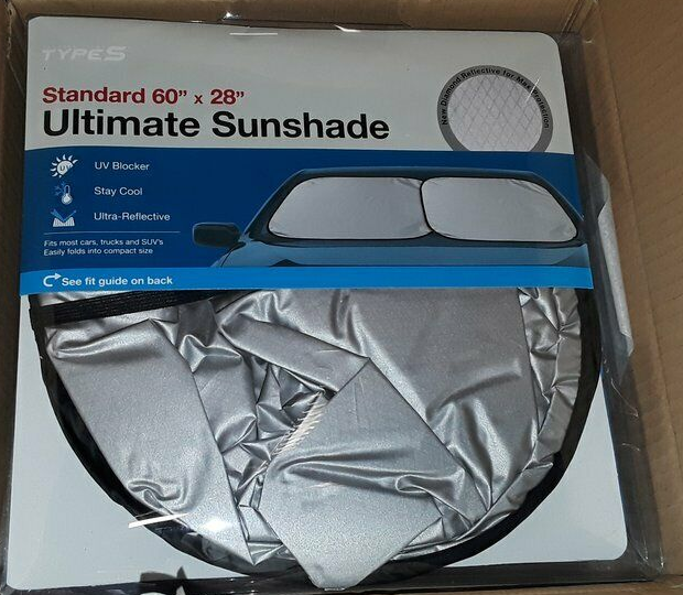"Primary image for WinPlus Touring Items Type S Ultimate Sunshade Standard 60""x 28"" Silver NIP"