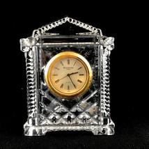 "Waterford Ireland Crystal Gild Faced Grecian Clock Made in Ireland Clear 4-1/4"" - $23.06"