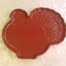 Thanksgiving turkey platter Tag ceramic embossed holiday brown 11  x 13 ... - $16.00
