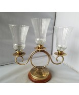 Vintage Candelabra Metal 3 Arm With Glass Candle Holders Lamp Antique Home - $56.77