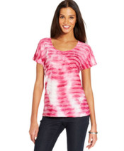 Jm Collection Women's Ribbon-Textured Printed Tee Pink Pinata Small - $9.89