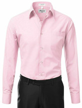 Berlioni Italy Men's Long Sleeve Solid Pink Dress Shirt w/ Defect Size Large image 2