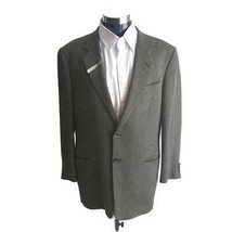 Armani Collezioni Mens Two Button Suit Jacket Green Herringbone Italy 48... - $89.09