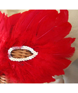 Feather Mask Red with Silver Sequin  Accent  Halloween Costume   - $6.95