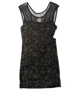 Free People Starlight Party Jersey Dress Metallic Floral Pattern Sz Smal... - $35.41