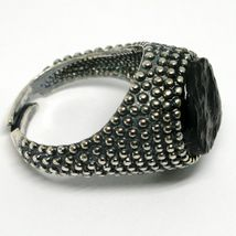MEN'S RING 925 SILVER, BURNISHED AND FLECKED, ONYX ROUGH, SIZE ADJUSTABLE image 3