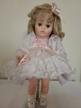 Uneeda 19in Girl Doll Blonde Hair Blue Eyes Redressed w Doll Stand - $29.02