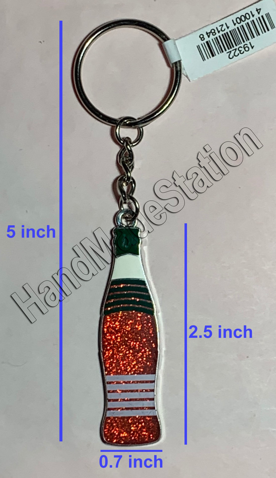Coke Coca-Cola Shiny red Italy Flag Bottle Keychain
