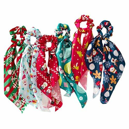 6 Pcs Christmas Satin Hair Ribbon Scrunchies Elastic Hair Band Bow Scarf Scrunch
