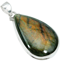 Beautiful Bronze Labradorite Pendant, 925 Silver, With Cord, One of a Kind  - $32.00