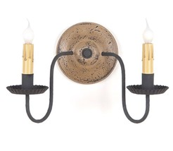 Country new Ashford PEARWOOD double wall sconce light / nice/ FREE SHIP - $110.29