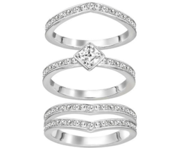 NWT Swarovski Crystal Alpha Ring Silver Clear Stacking Set - Size 7/55/M - $98.01