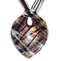"MN299 Black Silver Foil Bronze Sparkle 62mm Lampwork Glass Pendant 18"" Necklace - $7.15"