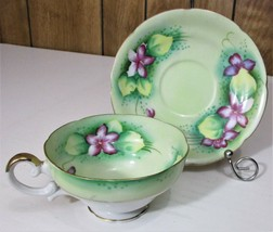 Vintage Lefton Tea Cup and Saucer Hand Painted Made in Japan - $28.04