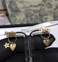 AUTH Christian Dior 2019 J'ADIOR HEART Crystal Star Dangle Earrings Gold image 3