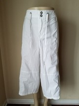 Lane Bryant Women's Pants Capri Cropped Orange Linen & White Cotton Casual 28 - $18.74