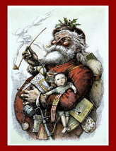 "Nast Thomas, Merry Old Santa, 1880, Christmas, Holiday, 8x10"" Cotton Can... - $15.99"