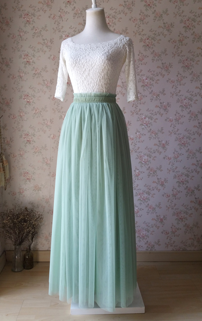 SAGE GREEN Long Maxi Tulle Skirt Full Length Sage Green Wedding Bridesmaid Skirt