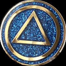 AA Circle Triangle Logo Reflex Blue Glitter Gold Plated Sobriety Chip - $17.99