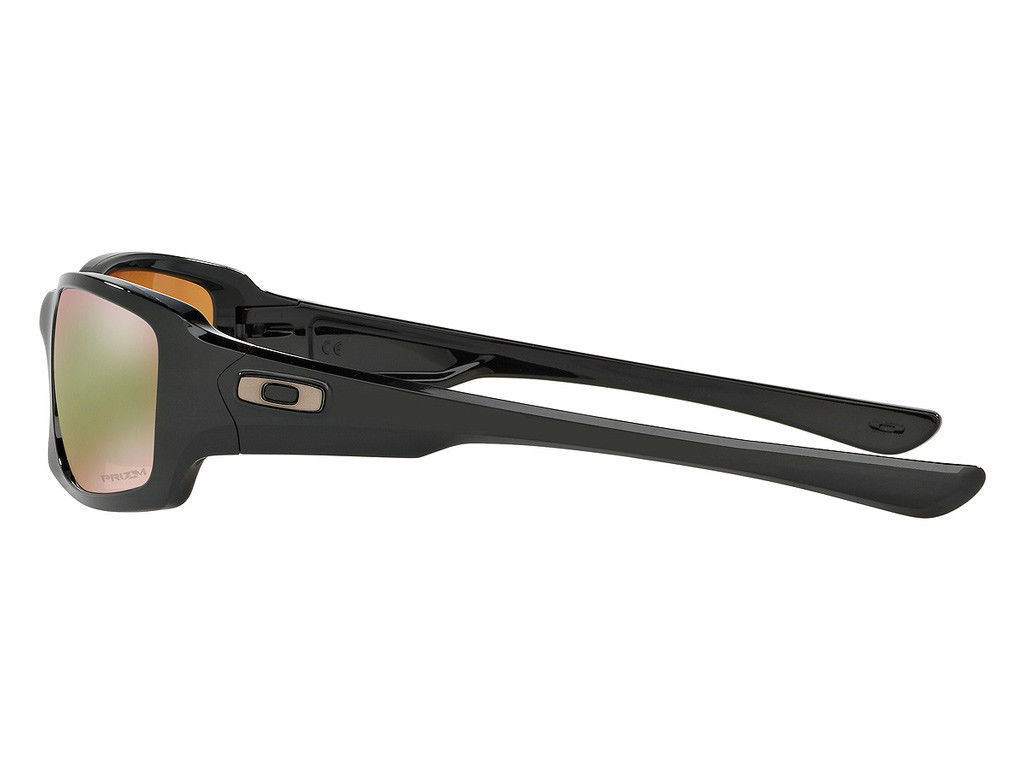 Nuovo Oakley Fives Squared Polished Black W/Prisma Shallow H2O Polarizzati