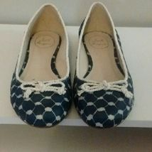 Jack Rogers Sz 9 M Zooey Ballet Flats Round Toe Fabric Chain Link Midnig... - $49.49