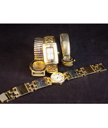 Lot of 4 Ladies WRISTWATCHES various styles, shapes & brands GOLD & SILV... - $9.49