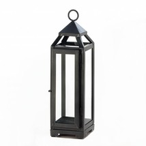 Metal Candle Lantern, Decorative Rustic Tall Slate Black Metal Candle La... - $24.99
