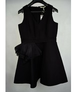 Halston Heritage Dress Black V-Neck Tulip Skirt Sleeveless 10 Womens NWT - $117.55