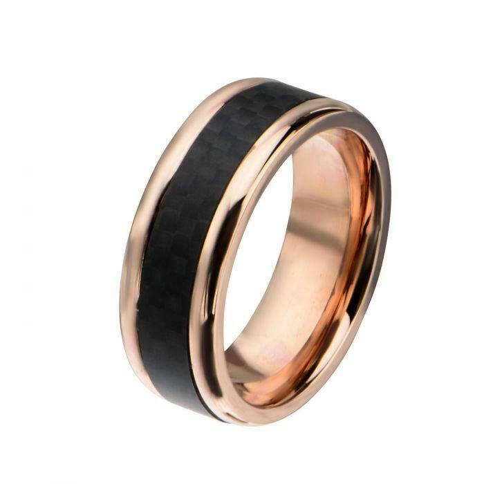 Primary image for Men's Stainless Steel Rose Gold Plated with Center Solid Carbon Fiber Ring