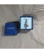 Monet Vintage Ribbon Christmas Tree Brooch Pin Clear Rhinestones Silver ... - $10.39